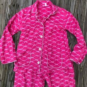 Lilly Pulitzer 2 pc Flannel Pajamas PJs Set Ribbon